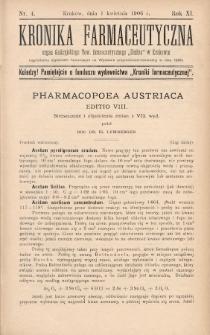 """Kronika Farmaceutyczna : organ Galicyjskiego Tow. Farmaceutycznego """"Unitas"""" w Krakowie. 1906, nr4"""