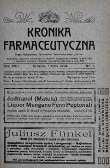 """Kronika Farmaceutyczna : organ Galicyjskiego Tow. Farmaceutycznego """"Unitas"""" w Krakowie. 1914, nr7"""