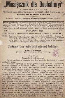 Miesięcznik dla Buchalteryi : czasopismo poświęcone rachunkowości oraz nauce umiejętności handlowych : wychodzi raz na miesiąc we Lwowie. 1900, nr3