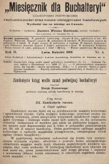 Miesięcznik dla Buchalteryi : czasopismo poświęcone rachunkowości oraz nauce umiejętności handlowych : wychodzi raz na miesiąc we Lwowie. 1900, nr4