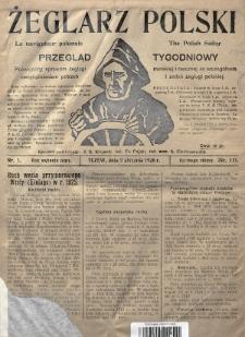 Żeglarz Polski : przegląd tygodniowy poświęcony sprawom żeglugi morskiej i rzecznej ze szczególnem uwzględnieniem potrzeb i zadań żeglugi polskiej. 1926, nr1