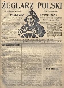 Żeglarz Polski : przegląd tygodniowy poświęcony sprawom żeglugi morskiej i rzecznej ze szczególnem uwzględnieniem potrzeb i zadań żeglugi polskiej. 1926, nr31