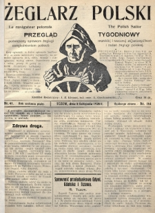 Żeglarz Polski : przegląd tygodniowy poświęcony sprawom żeglugi morskiej i rzecznej ze szczególnem uwzględnieniem potrzeb i zadań żeglugi polskiej. 1926, nr41