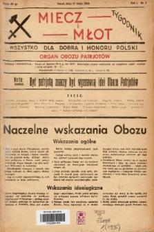 Miecz i Młot : wszystko dla dobra i honoru Polski : organ Obozu Patrjotów. 1936, nr 1
