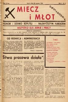 Miecz i Młot : honor i dobro Rzplitej - najwyższym nakazem : wszystko dla armji i pracy. 1936, nr 4
