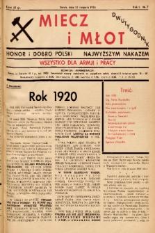 Miecz i Młot : honor i dobro Polski - najwyższym nakazem : wszystko dla armji i pracy. 1936, nr 7