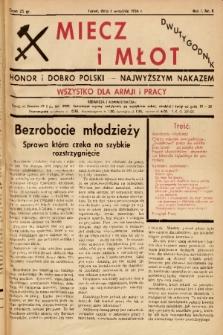 Miecz i Młot : honor i dobro Polski - najwyższym nakazem : wszystko dla armji i pracy. 1936, nr 8