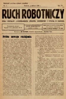 """Ruch Robotniczy : organ centralny """"Chrześcijańskich Związków Zawodowych"""" z siedzibą w Krakowie. 1926, nr 3"""