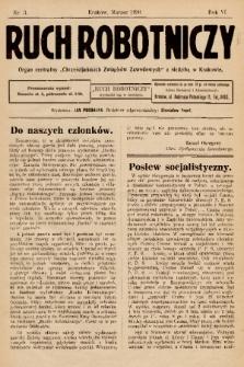 """Ruch Robotniczy : organ centralny """"Chrześcijańskich Związków Zawodowych"""" z siedzibą w Krakowie. 1930, nr 3"""
