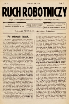 """Ruch Robotniczy : organ """"Chrześcijańskich Związków Zawodowych"""" z siedzibą w Krakowie. 1930, nr 5"""