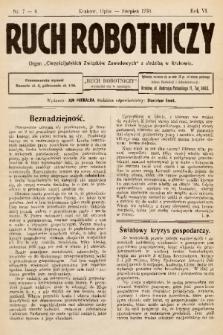 """Ruch Robotniczy : organ """"Chrześcijańskich Związków Zawodowych"""" z siedzibą w Krakowie. 1930, nr 7-8"""