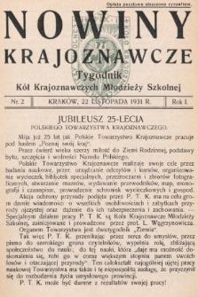 Nowiny Krajoznawcze : tygodnik kół krajoznawczych młodzieży szkolnej. 1931, nr2