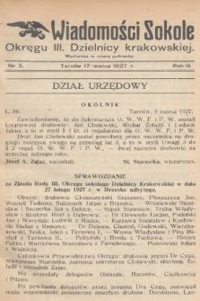 Wiadomości Sokole Okręgu III. Dzielnicy Krakowskiej. 1927, nr5