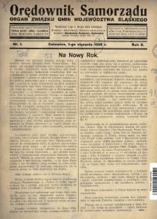 Orędownik Samorządu : organ Związku Gmin Województwa Śląskiego. 1926, nr1
