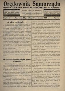 Orędownik Samorządu : organ Związku Gmin Województwa Śląskiego. 1926, nr4-5