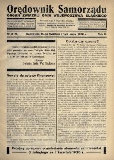 Orędownik Samorządu : organ Związku Gmin Województwa Śląskiego. 1926, nr8-9