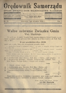 Orędownik Samorządu : organ Związku Gmin Województwa Śląskiego. 1926, nr13