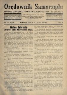 Orędownik Samorządu : organ Związku Gmin Województwa Śląskiego. 1926, nr15-17