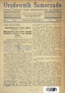 Orędownik Samorządu : organ Związku Gmin Województwa Śląskiego. 1927, nr1