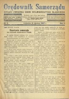 Orędownik Samorządu : organ Związku Gmin Województwa Śląskiego. 1927, nr2