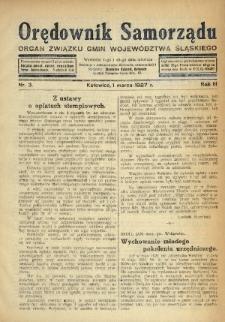 Orędownik Samorządu : organ Związku Gmin Województwa Śląskiego. 1927, nr3