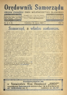 Orędownik Samorządu : organ Związku Gmin Województwa Śląskiego. 1927, nr4-6