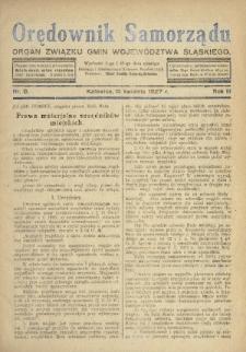 Orędownik Samorządu : organ Związku Gmin Województwa Śląskiego. 1927, nr8