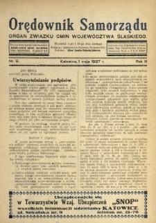 Orędownik Samorządu : organ Związku Gmin Województwa Śląskiego. 1927, nr9