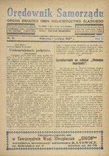 Orędownik Samorządu : organ Związku Gmin Województwa Śląskiego. 1927, nr10