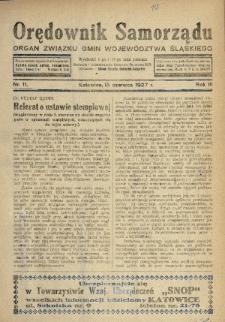 Orędownik Samorządu : organ Związku Gmin Województwa Śląskiego. 1927, nr11