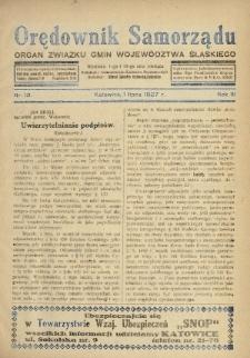Orędownik Samorządu : organ Związku Gmin Województwa Śląskiego. 1927, nr12