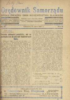 Orędownik Samorządu : organ Związku Gmin Województwa Śląskiego. 1927, nr13