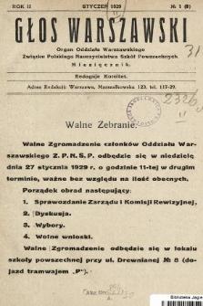 Głos Warszawski : organ Oddziału Warszawskiego Związku Polskiego Nauczycielstwa Szkół Powszechnych. R. 2, 1929, nr1