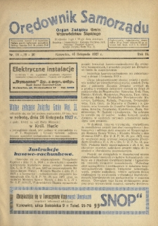 Orędownik Samorządu : organ Związku Gmin Województwa Śląskiego. 1927, nr18-20