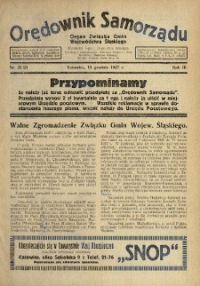 Orędownik Samorządu : organ Związku Gmin Województwa Śląskiego. 1927, nr21-24