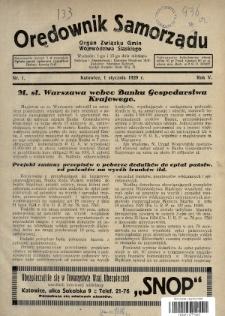 Orędownik Samorządu : organ Związku Gmin Województwa Śląskiego. 1929, nr1