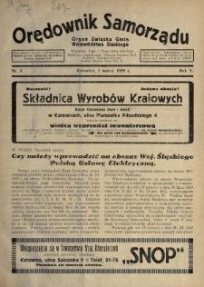 Orędownik Samorządu : organ Związku Gmin Województwa Śląskiego. 1929, nr5