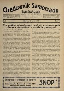 Orędownik Samorządu : organ Związku Gmin Województwa Śląskiego. 1929, nr6