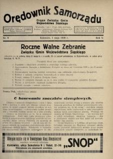 Orędownik Samorządu : organ Związku Gmin Województwa Śląskiego. 1929, nr9