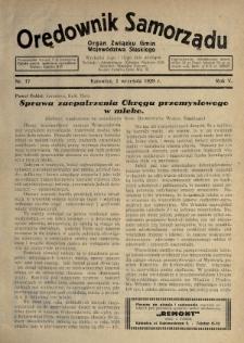 Orędownik Samorządu : organ Związku Gmin Województwa Śląskiego. 1929, nr17