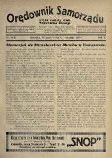 Orędownik Samorządu : organ Związku Gmin Województwa Śląskiego. 1929, nr20-21