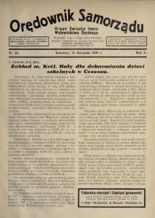 Orędownik Samorządu : organ Związku Gmin Województwa Śląskiego. 1929, nr22