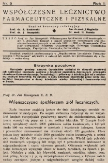 Współczesne Lecznictwo Farmaceutyczne i Fizykalne : czasopismo poświęcone rozwojowi krajowego przemysłu chemiczno-farmaceutycznego i sprawom lekarskim. 1935, nr3