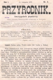 Przyrodnik : dwutygodnik popularny : organ Oddziału Towarzystwa rybackiego w Tarnowie. R. 1, 1879, nr2