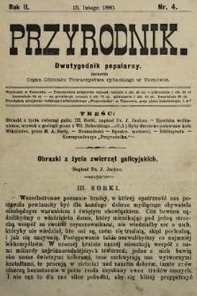 Przyrodnik : dwutygodnik popularny zarazem organ Oddziału Towarzystwa rybackiego w Tarnowie. R. 2, 1880, nr4