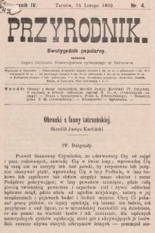 Przyrodnik : dwutygodnik popularny zarazem organ Oddziału Towarzystwa rybackiego w Tarnowie. R. 3, 1882, nr4