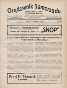 Orędownik Samorządu : organ Związku Gmin Województwa Śląskiego. 1930, nr7