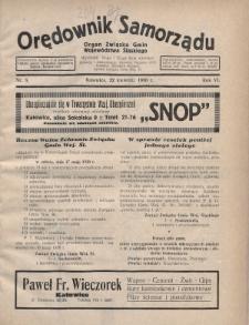 Orędownik Samorządu : organ Związku Gmin Województwa Śląskiego. 1930, nr8