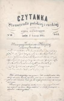 Czytanka Stenografii Polskiéj i Ruskiéj Szkoły Lubina Olewińskiego. 1865, nr3