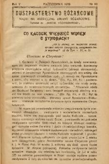 """Duszpasterstwo Różańcowe : Nauki na miesięczne zmiany różańcowe : dodatek do """"Gościa Różańcowego"""". 1938, nr 10"""